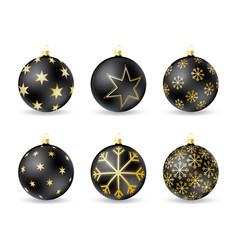 Set of black christmas balls with winter ornament vector