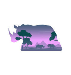 Silhouette of rhino in the hill landscape vector