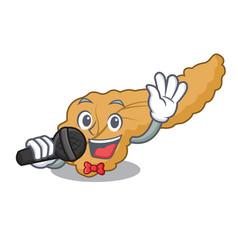 Singing pancreas mascot cartoon style vector