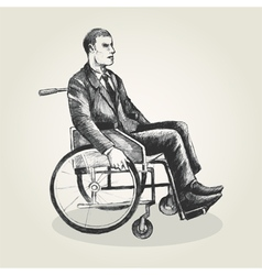 Sketch of a person on wheelchair vector image