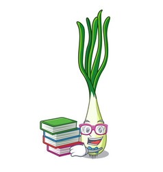 Student with book fresh scallion isolated on the vector