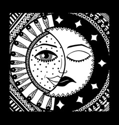 Sun and month black and white vector