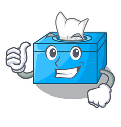 Thumbs up cartoon tissue box in the restaurant vector