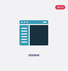 Two color sidebar icon from ui concept isolated vector