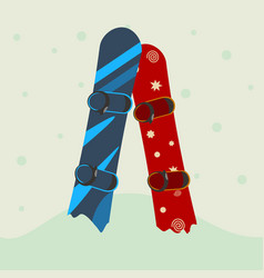 Two snowboard in the snow vector