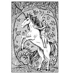 Unicorn engraved fantasy vector
