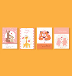 Valentine s day gift cards with cute animals vector