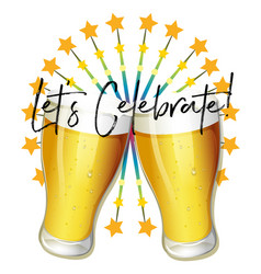 Word expression for lets celebrate with two vector