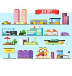 Big City Buildings Set vector image vector image