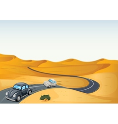 cars in a desert vector image vector image