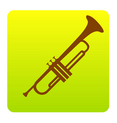 musical instrument trumpet sign brown vector image