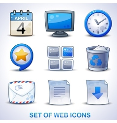 Web icons blue set vector image