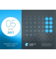 Calendar Template for May 2017 Design vector image vector image