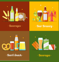 colorful drinking beer banner card set vector image vector image