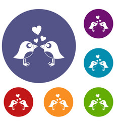 two birds with hearts icons set vector image