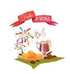 Banner with corn and quentao for Festa Junina vector image vector image