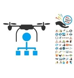 Drone Distribution Icon With 2017 Year Bonus vector image vector image