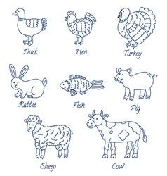 Farm animals cartoon set vector image vector image
