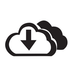 flat black cloud down button icon vector image vector image
