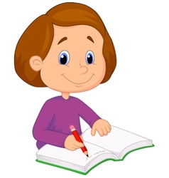 Little girl cartoon writing on a book vector image vector image