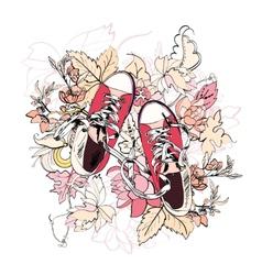 Gumshoes sketch flower vector image vector image