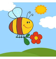 Happy Bee Flying With Flower In Sky vector image