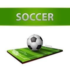 Soccer ball and grass field emblem vector image