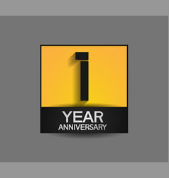 1 year anniversary in square yellow and black vector