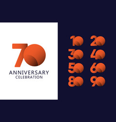 70 years anniversary celebration orange logo vector