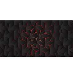 abstract red light polygon crack on dark grey vector image