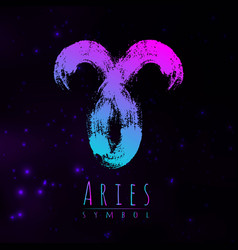 Abstract zodiac sign aries on a dark cosmic vector
