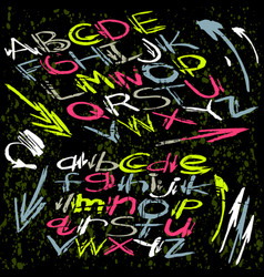 alphabet font in graffiti style on a dark vector image
