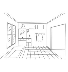 Bathroom interior hand drawing on a white vector