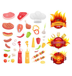 bbq barbecue party icons set vector image