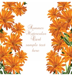 Beautiful Watercolor Cream Yellow flowers card vector