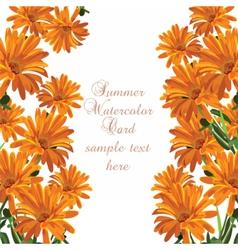 Beautiful Watercolor Cream Yellow flowers card vector