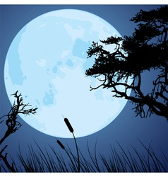 Big blue moon and silhouettes tree branches vector