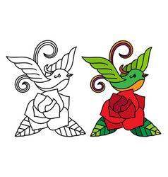 bird with rose coloring page vector image