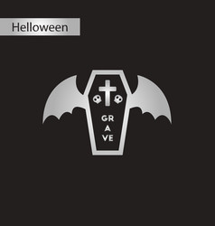 black and white style icon halloween wings coffin vector image