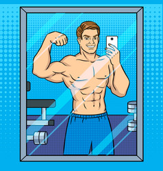 body builder makes selfie in the mirror pop art vector image