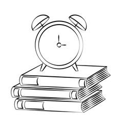 books alarm clock back vector image