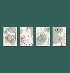 botanical wall art set foliage line art vector image