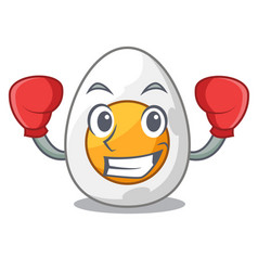 Boxing cartoon boiled egg sliced for breakfast vector