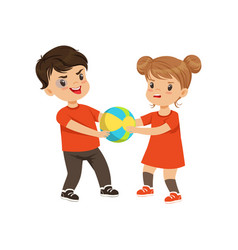 Boy and girl fighting for the ball vector
