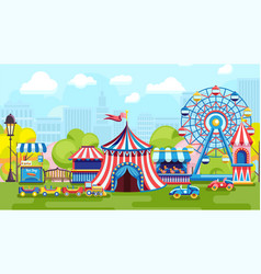 bright fair in city park vector image
