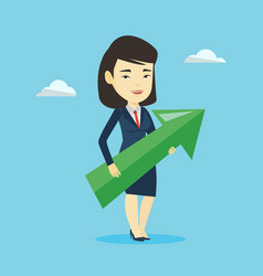 Businesswoman aiming at business growth vector