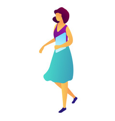 businesswoman walking with documents isometric 3d vector image