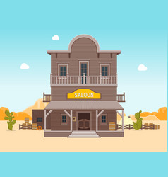 Cartoon building saloon on a landscape background vector