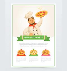 cartoon character italian pizzaiolo holding hot vector image