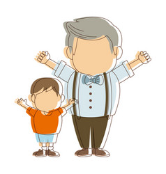 Cartoon happy grandpa and his grandson family vector